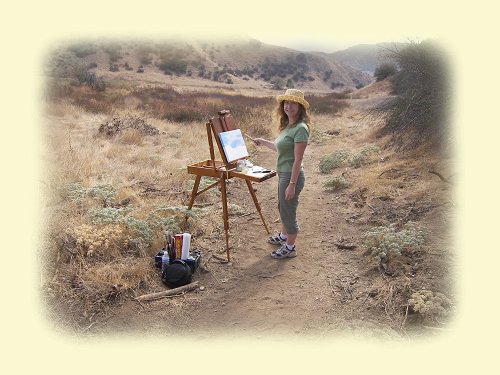 Artist Julie R. Evans plein air painting in Oakmont Park, Redlands